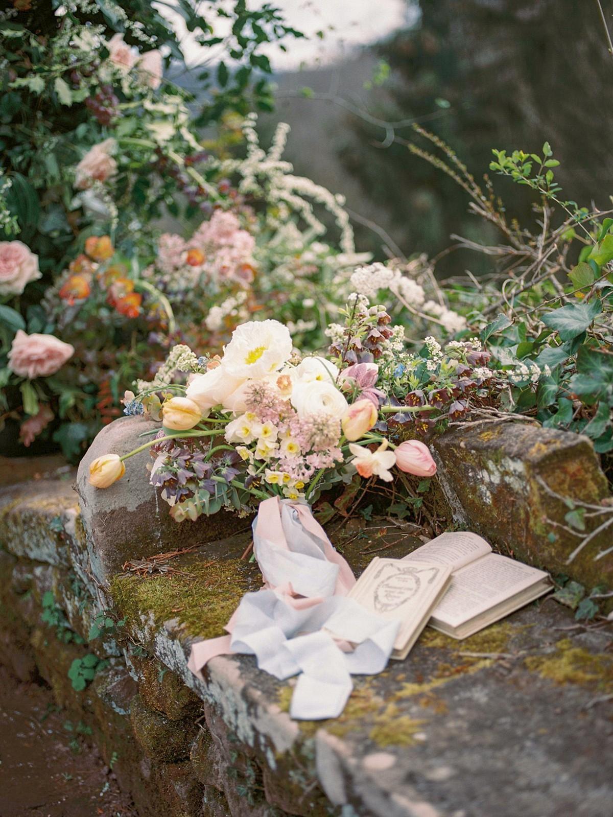 Secret garden fairytale editorial in French mountain village