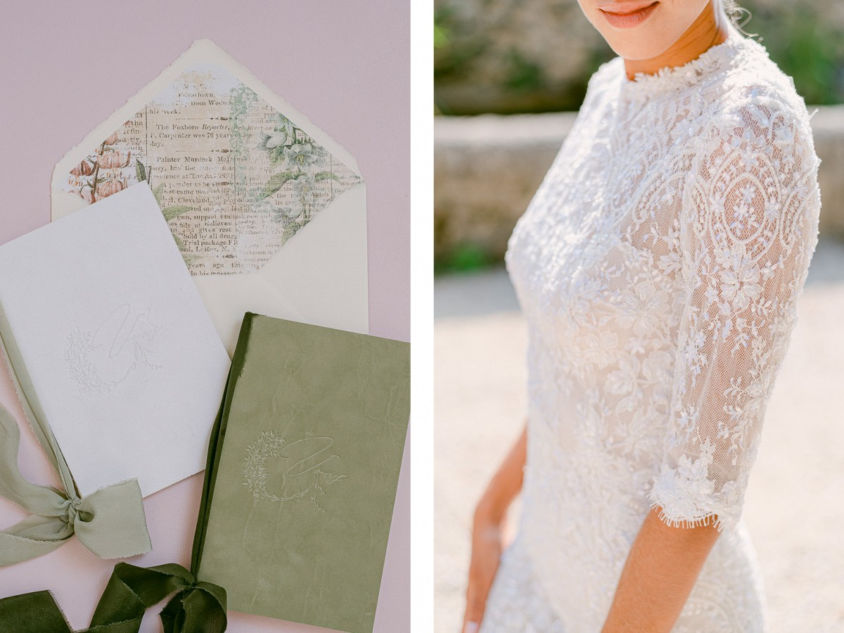 Chateau Vineyard Elegant Wedding Style with Green & White Color Palette