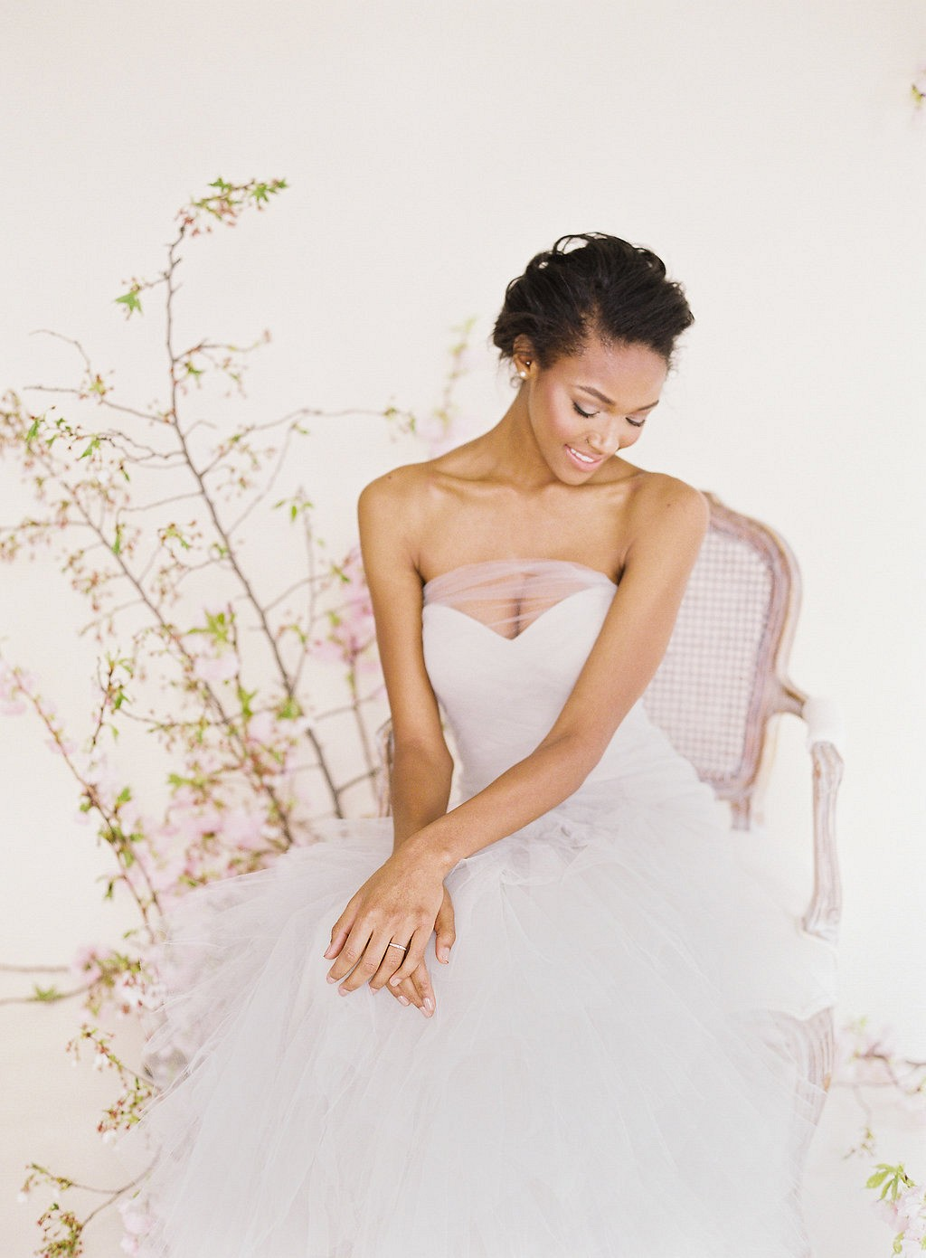 Angelic Cherry Blossom Spring Bridal Look