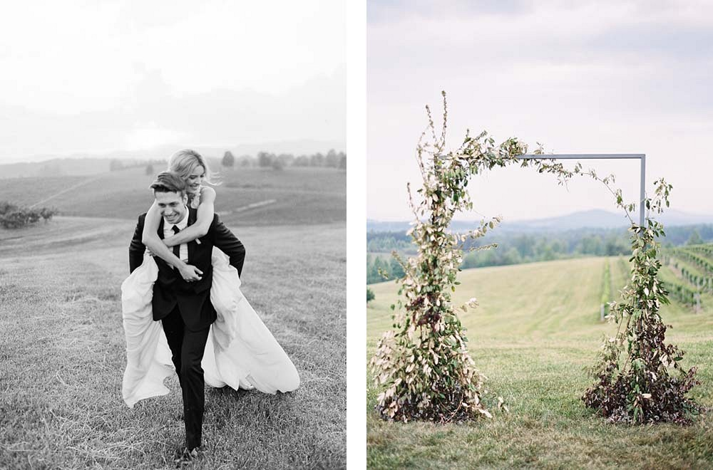 Vineyard Wedding with a Vine Covered Arbor by Chris Isham Photography | Wedding Sparrow