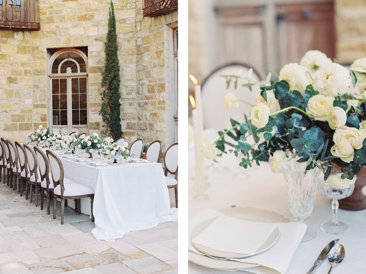 Elegant white floral tablescape at Sunstone Winery by Lianna Marie