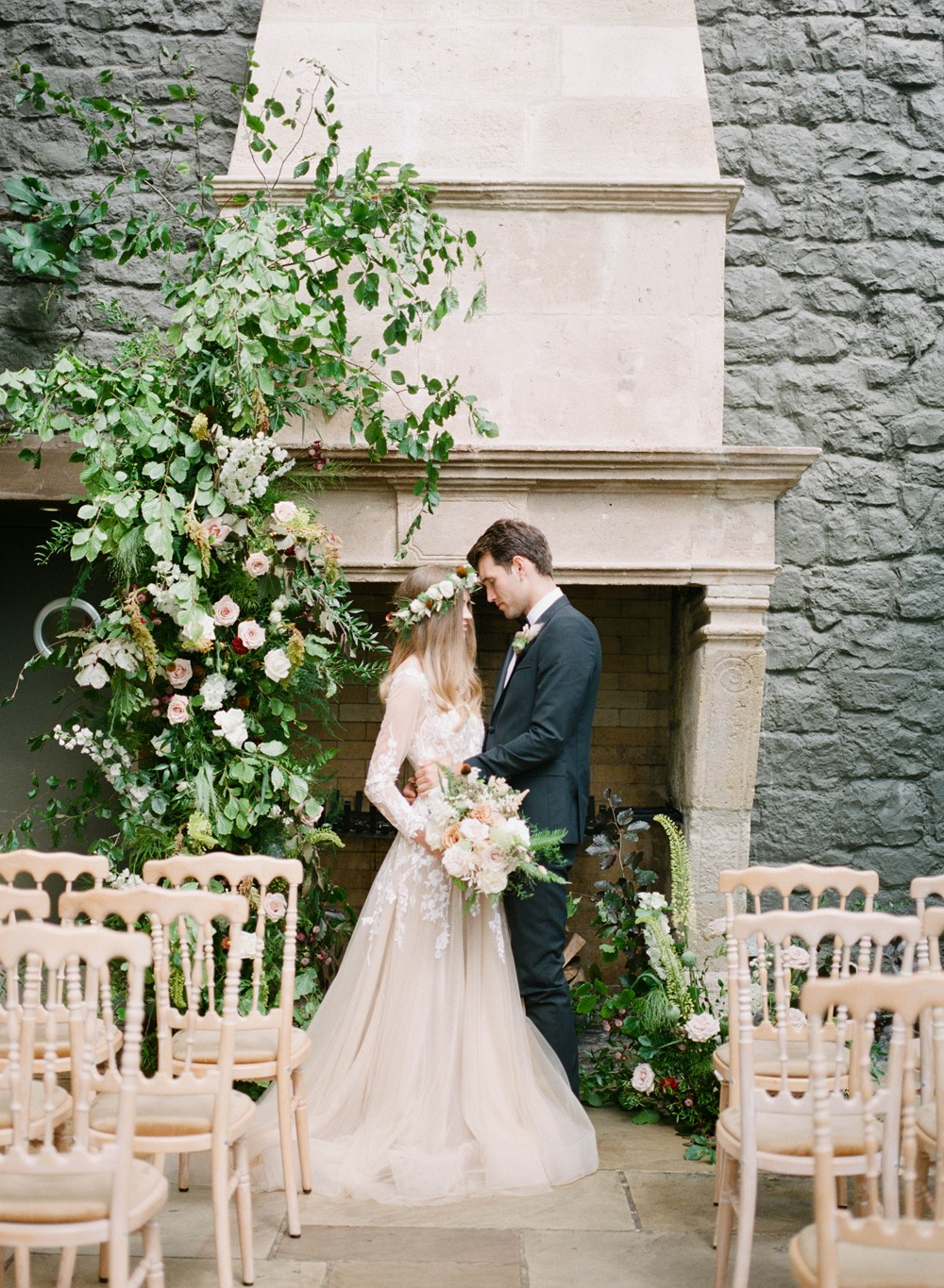 Orangery Wedding Style with a Nude Colored Wedding Dress