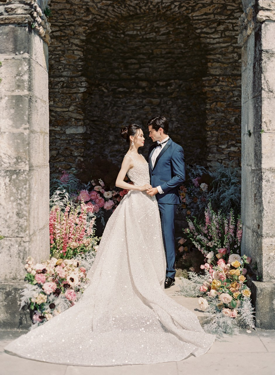 Opulent Chateau Wedding Inspiration with 3 Couture Gowns