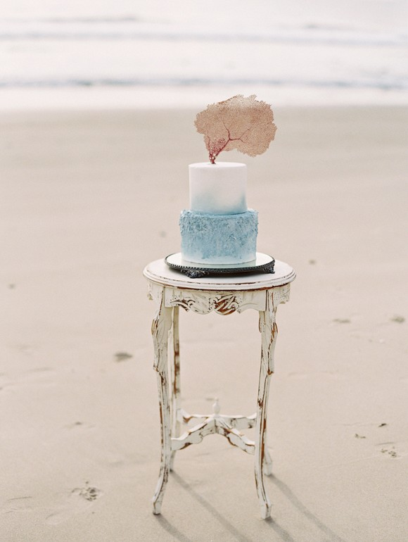 Fine Art watercolor cake | Siren of the Sea Coastal Wedding Ideas by Lavender & Twine on Wedding Sparrow