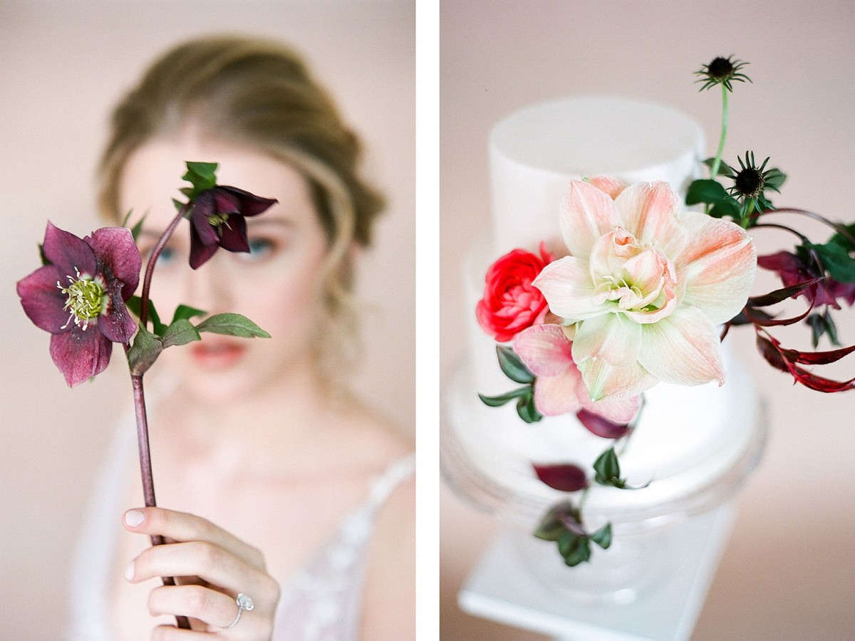 Aubergine and Coral inspired wedding flower ideas