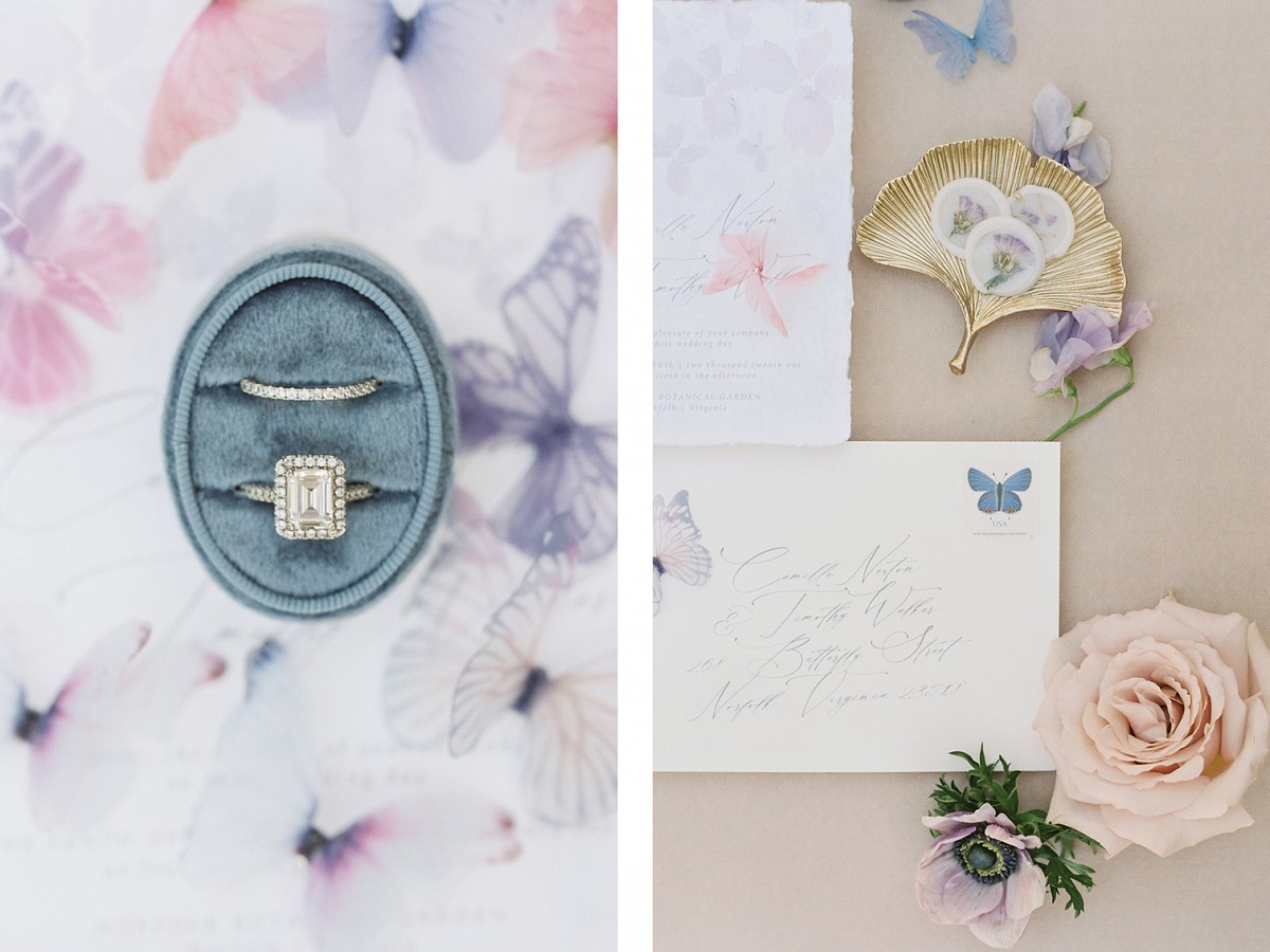 English country garden-inspired editorial with butterflies and roses