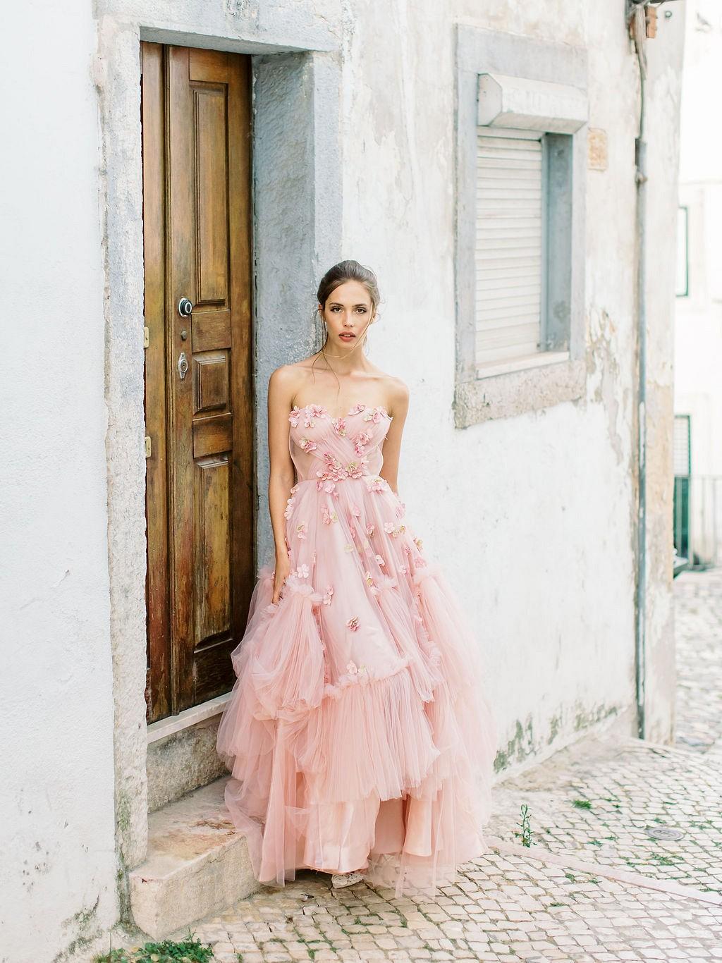 Pale pink wedding dress ideas