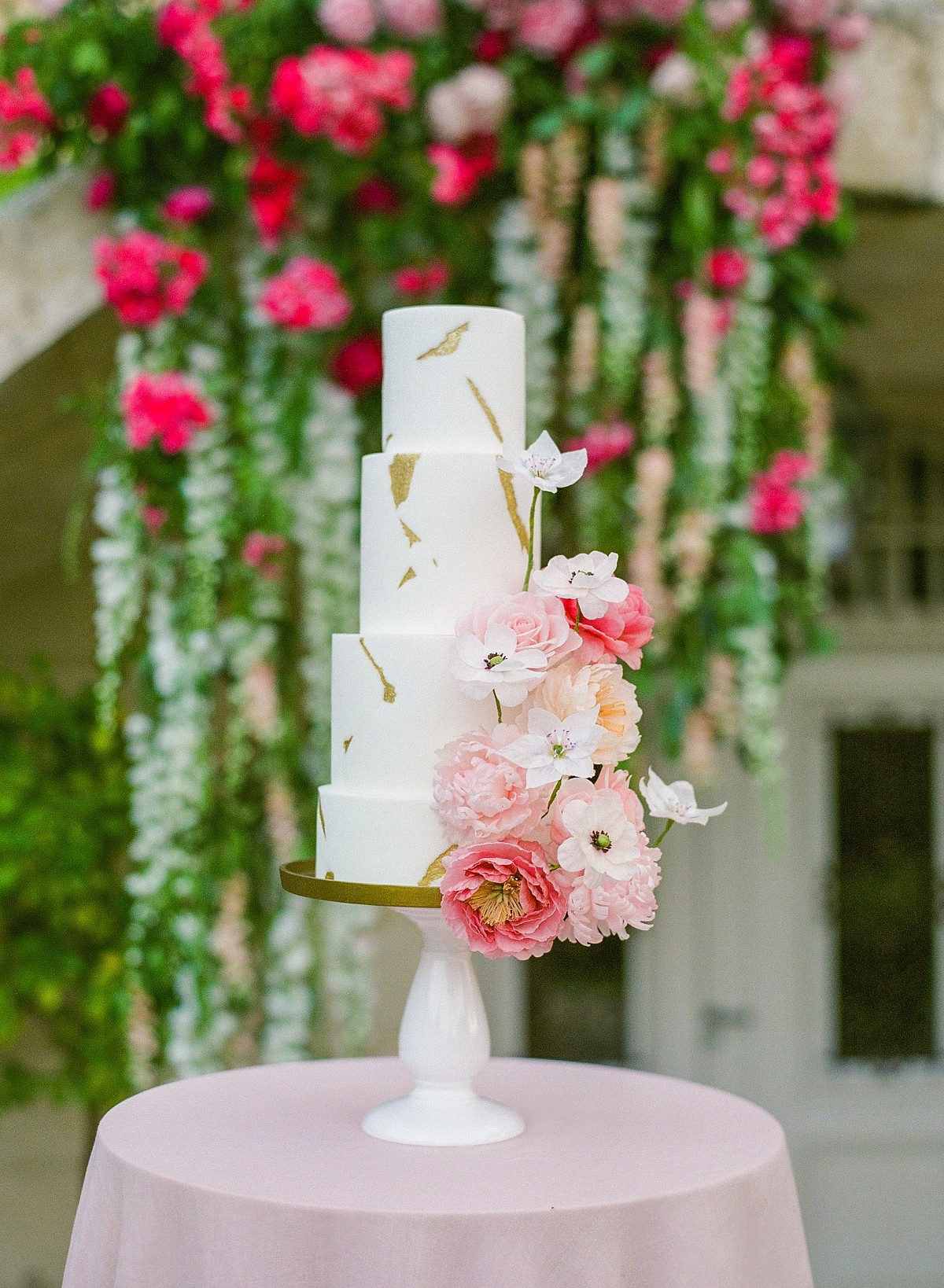 Hot Pink Florals at a Stunning Chateau in France