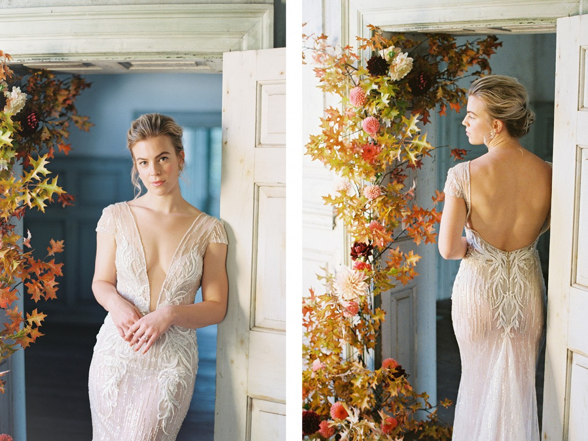 A Puff Sleeved Gown with Fall Flowers