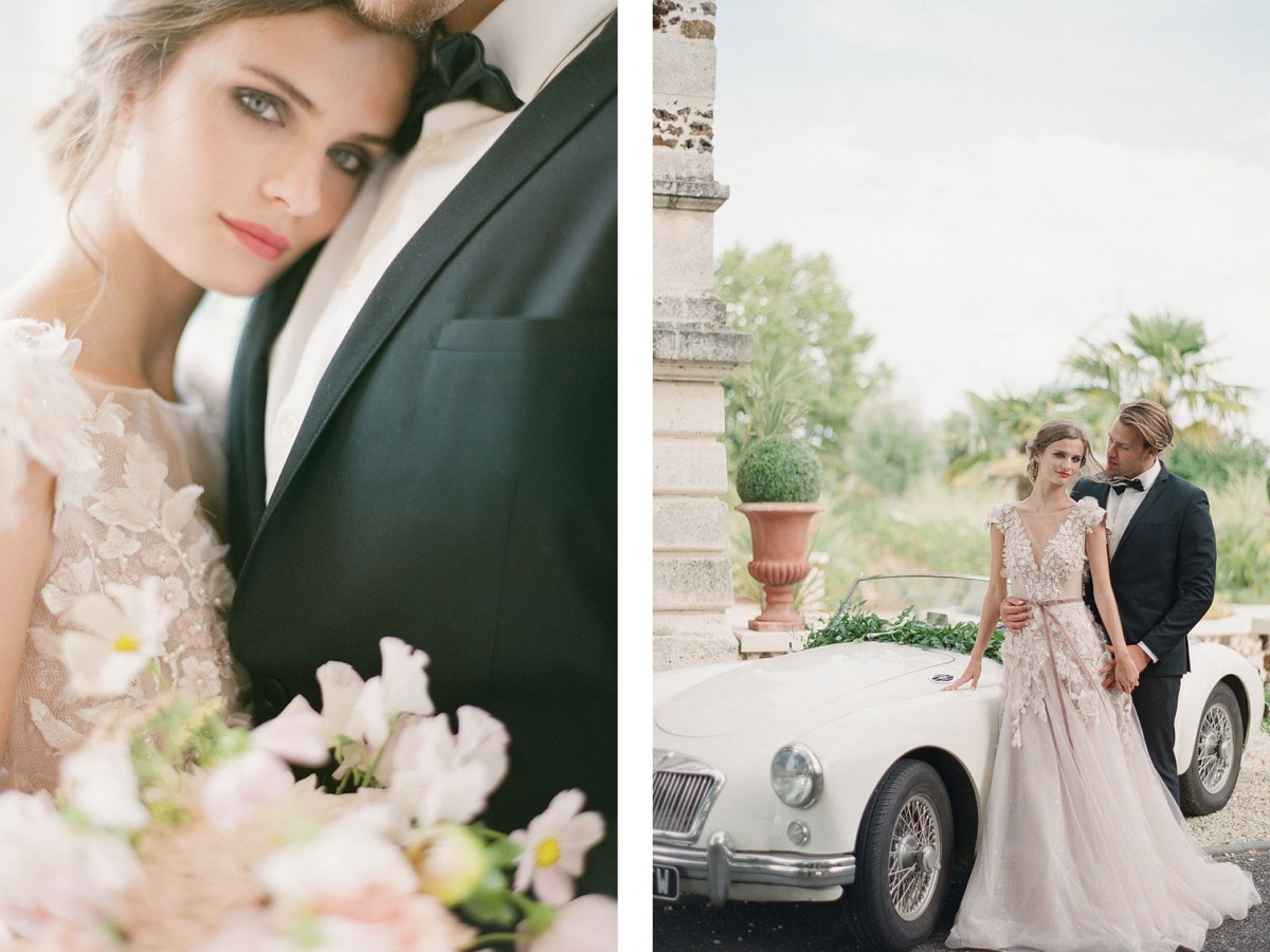 A Floral Applique Gown in a French Chateau Wedding