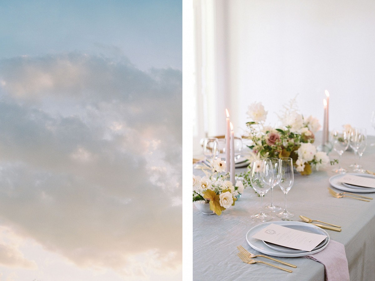 Subtle Late Summer Golden and Mauve Wedding Tablescape Ideas