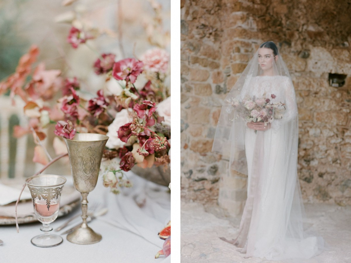 Haunting Bridal Style with Pearl Veil in Greece