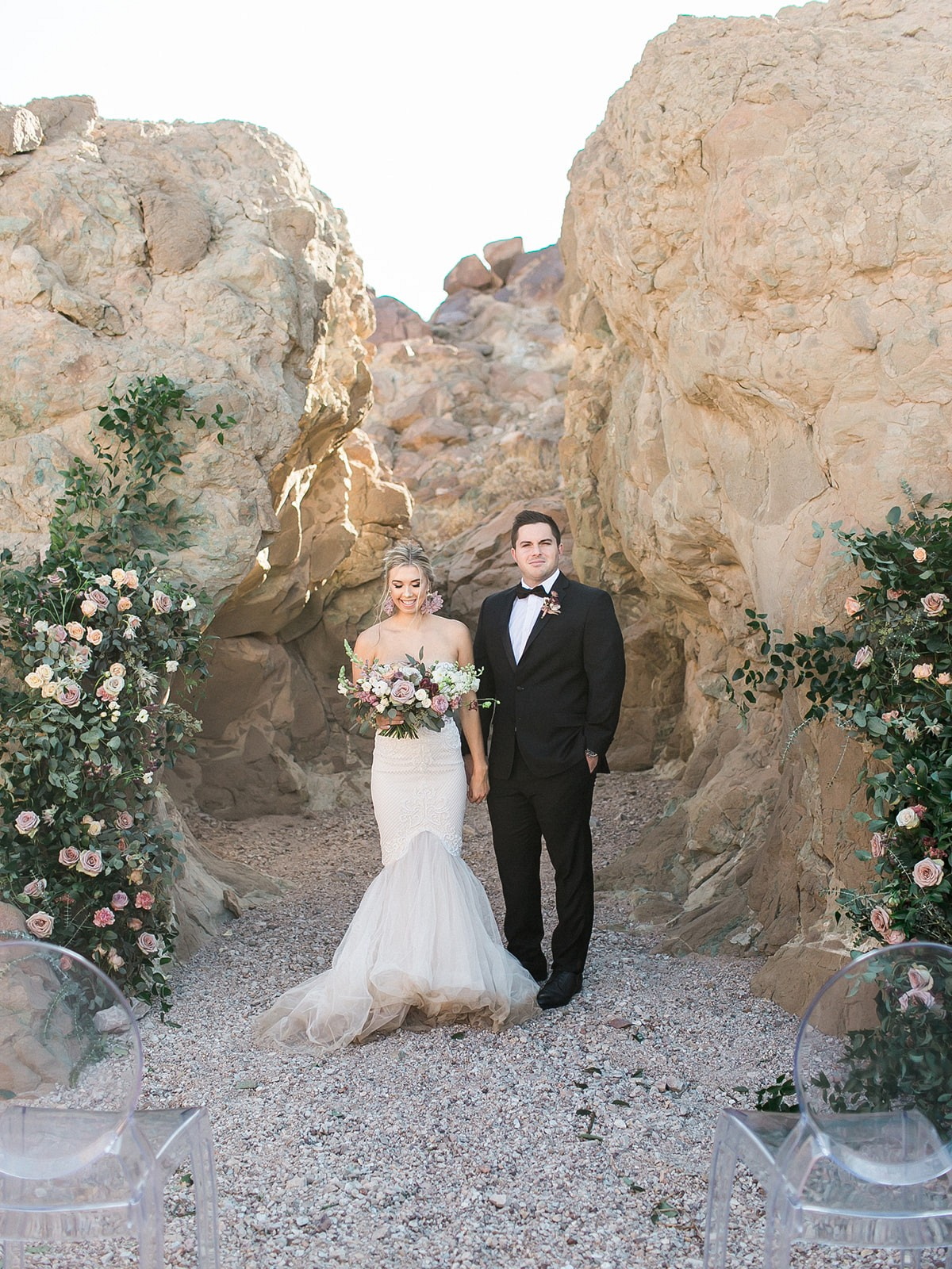 Intimate Ceremony in the Desert with Mauve Florals