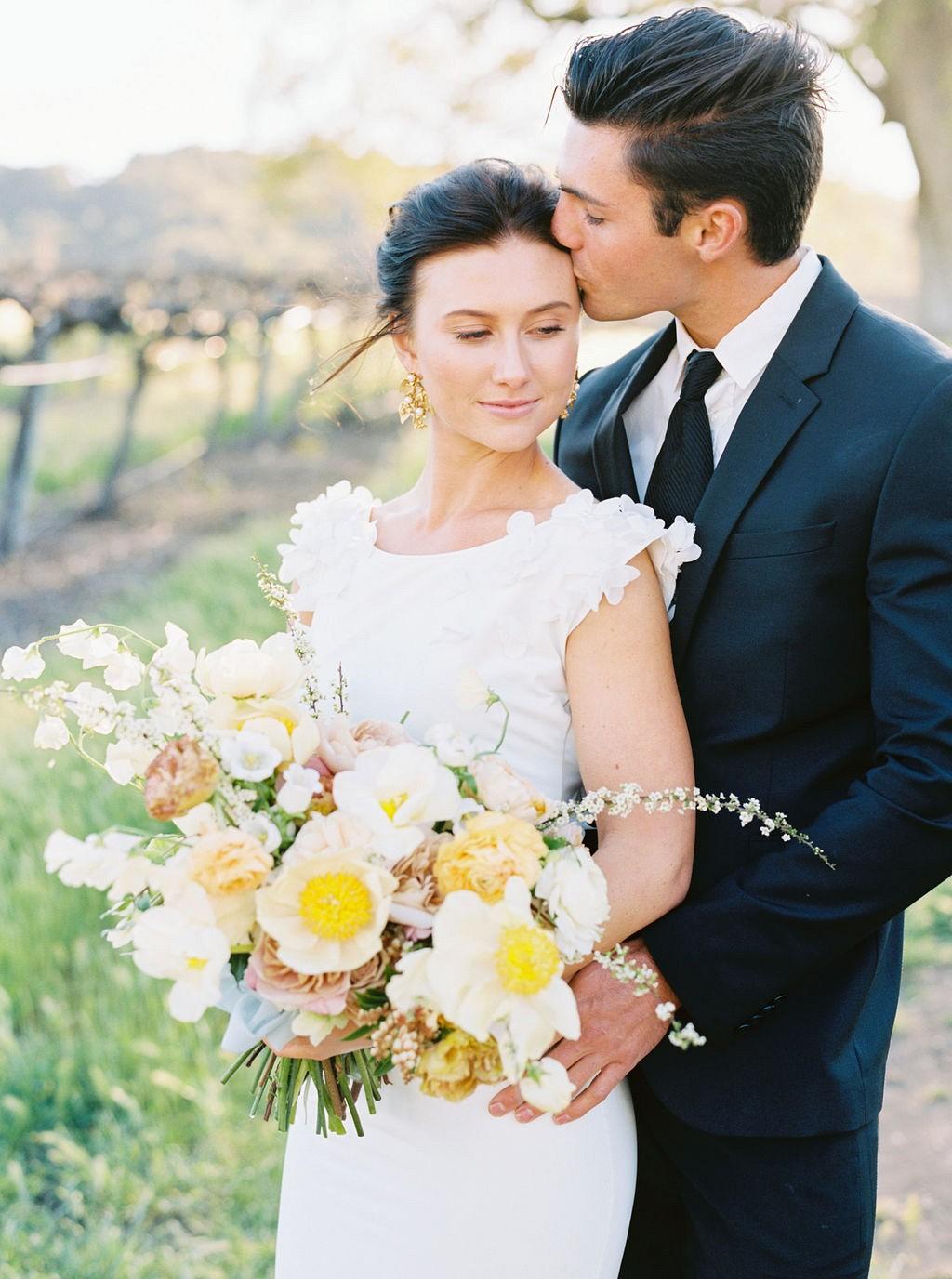 Gold & Ochre Florals at a Vineyard Wedding