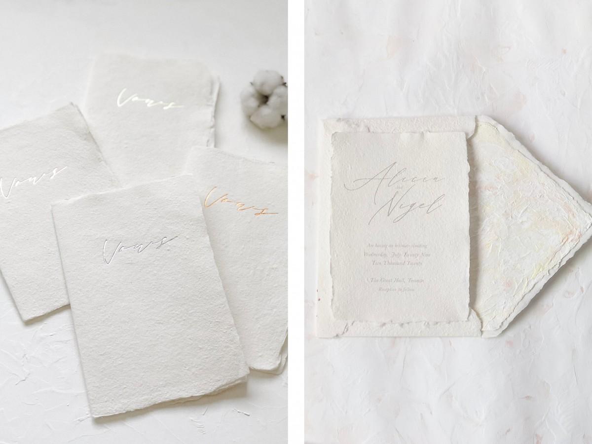 handmade paper wedding stationery