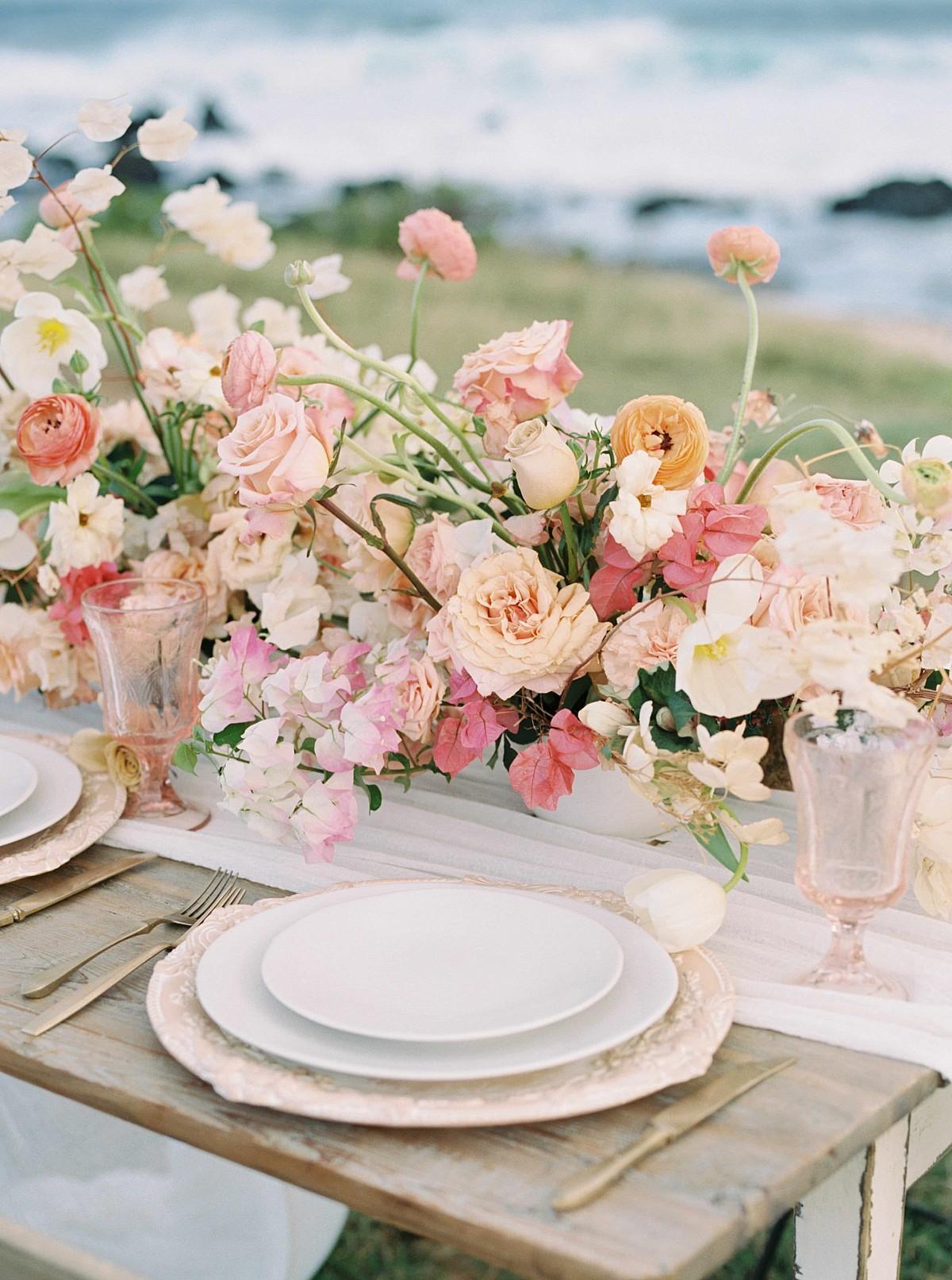 Oahu Coastal Wedding Inspiration with Rose Colored Leanne Marshall Dress