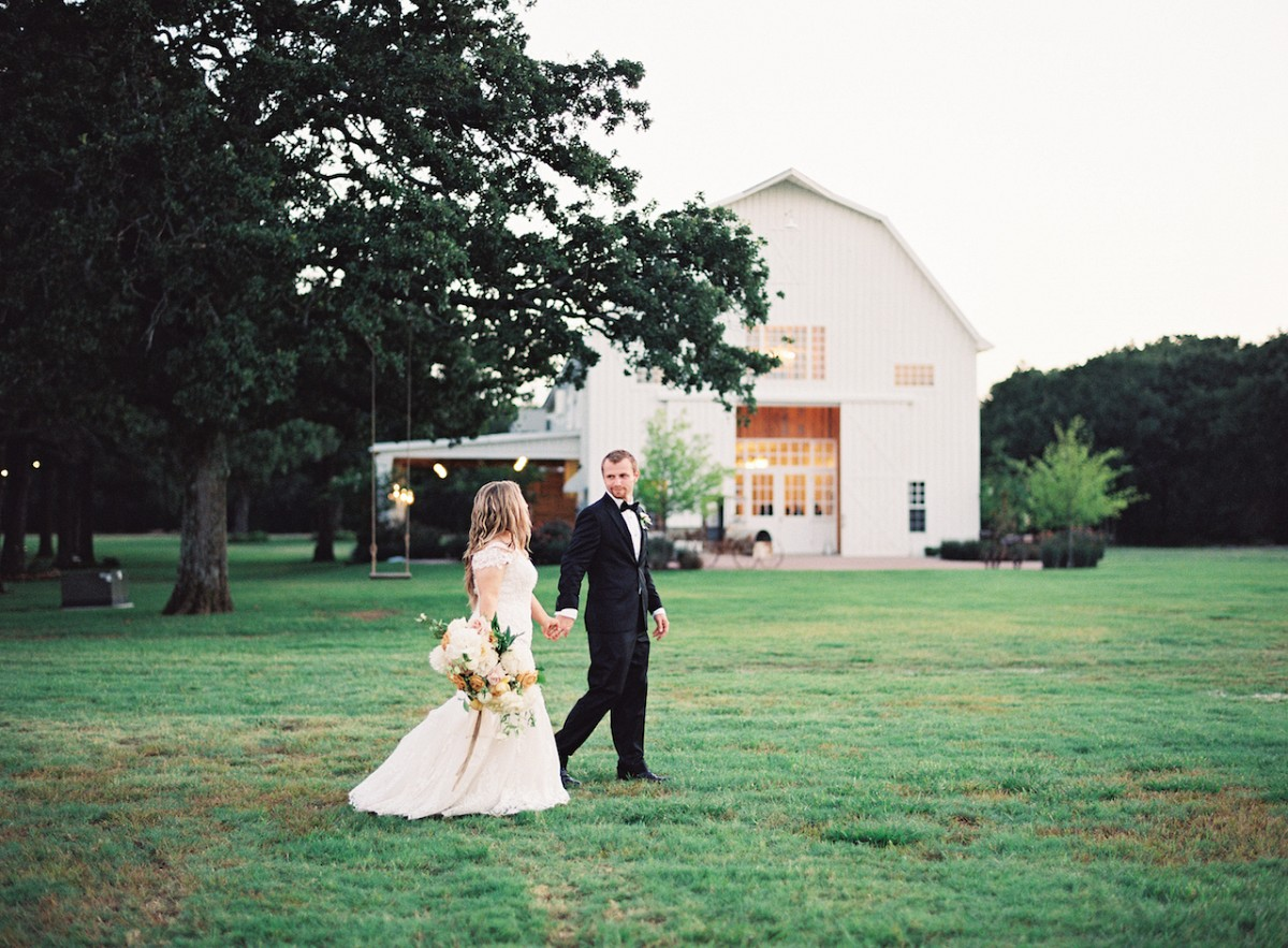 Modern Barn Wedding in Ochre and Blackcurrant