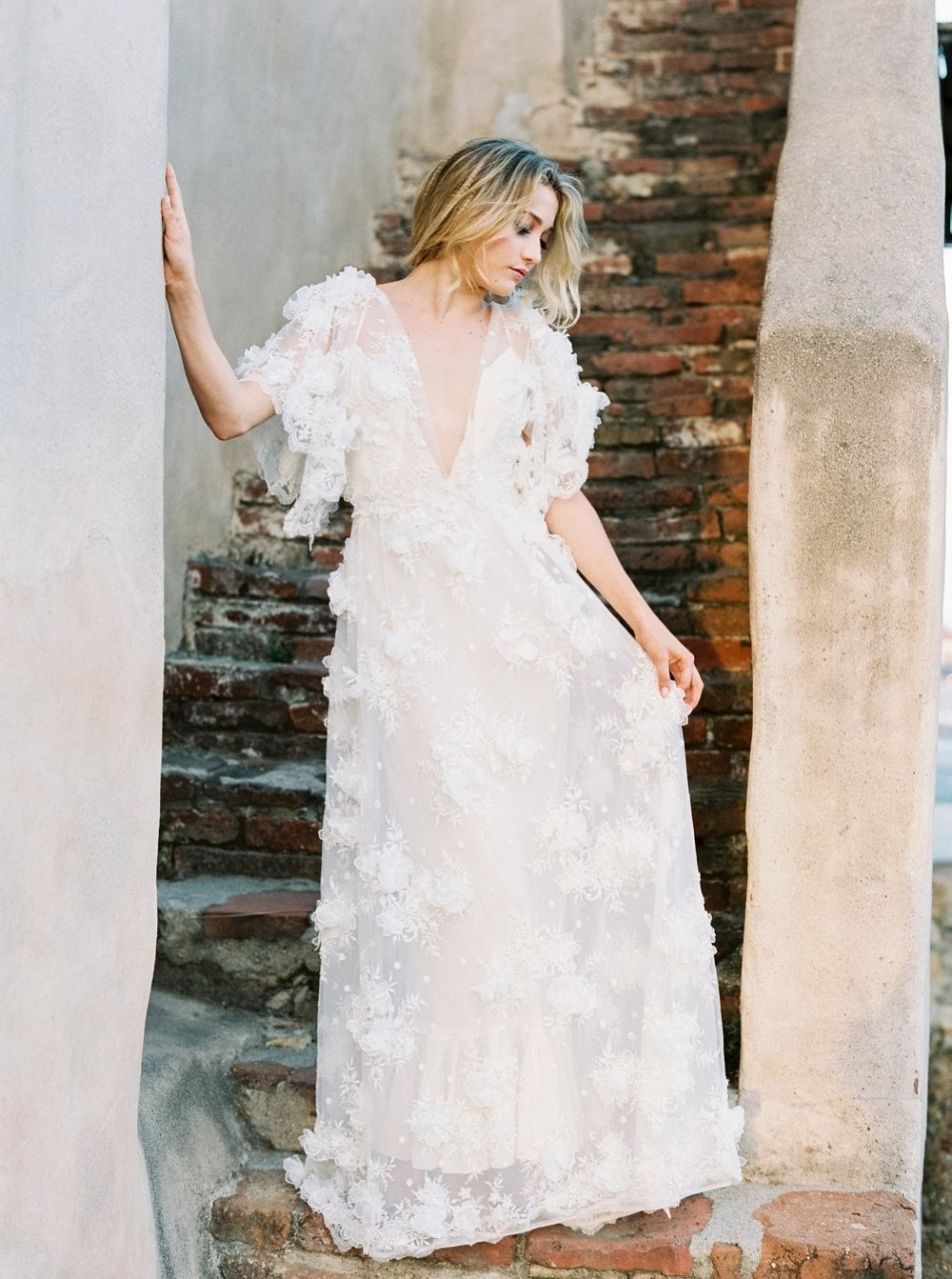Bespoke Textured Gossamer Gown in a Historic Mission