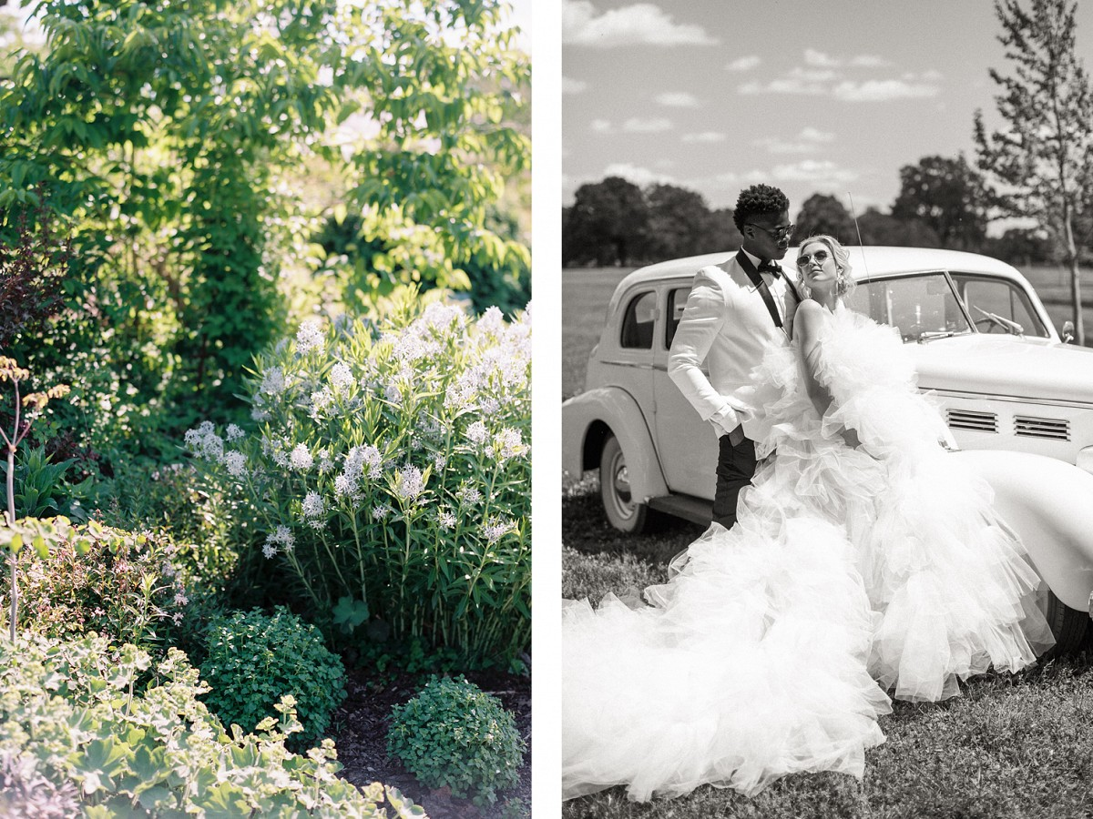 Cool couture editorial full of bright blooms on Lake Mendota, Wisconsin