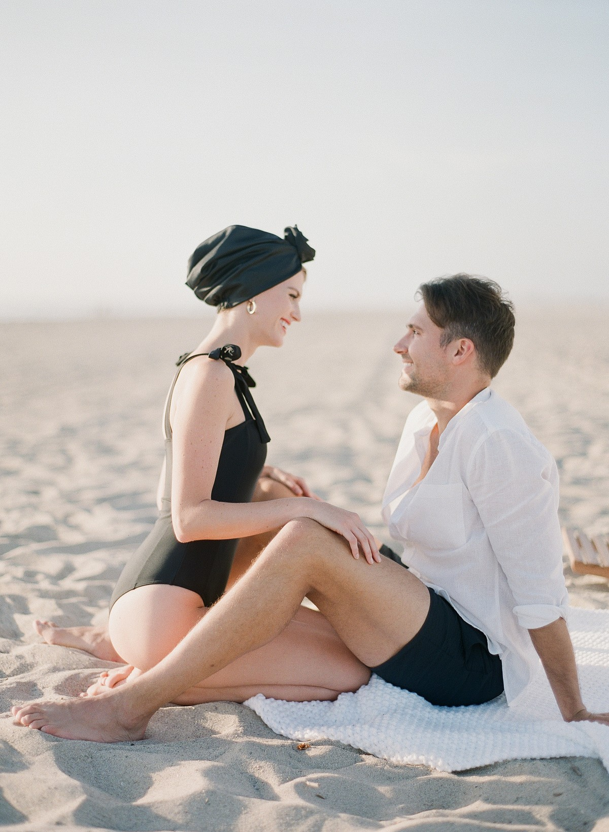 Retro Inspired Engagement Session at the Beach