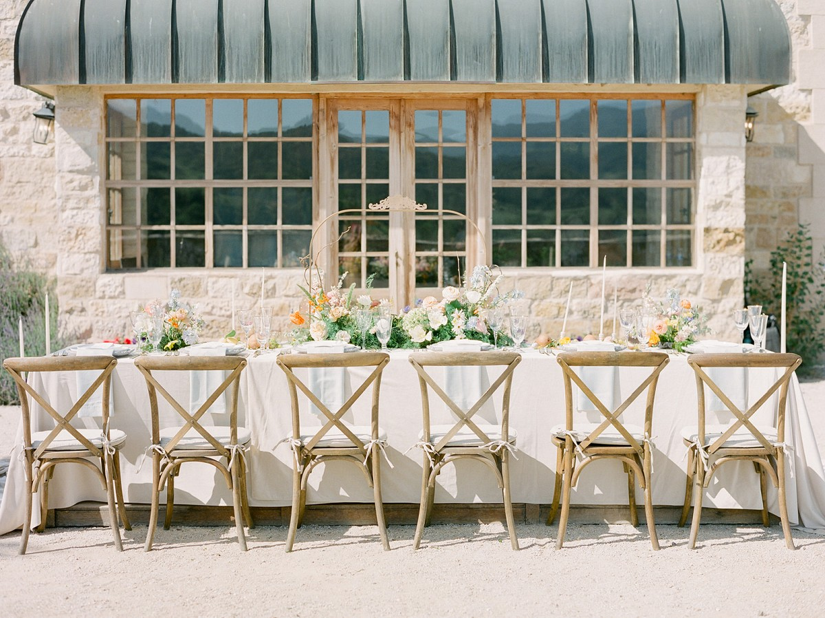 Coral and blue garden style editorial at Sunstone Winery