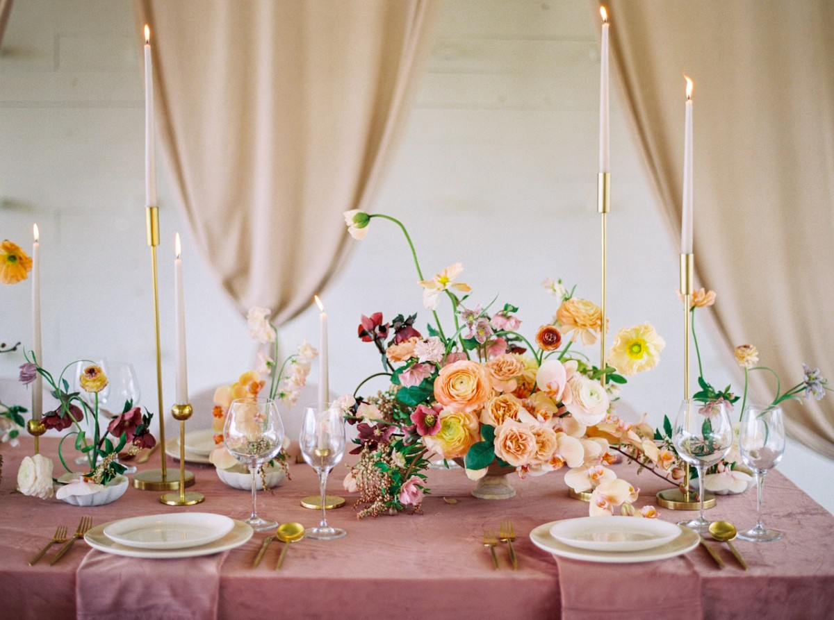 Blush, mauve, velvet and white wedding palette inspiration