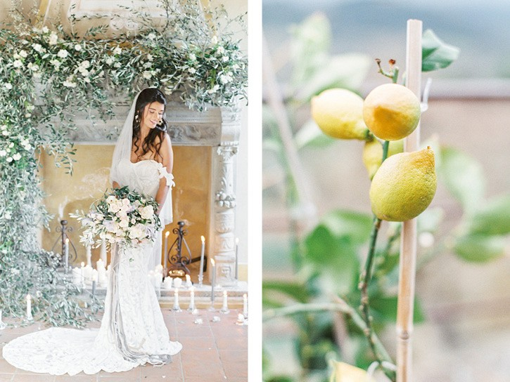 Romantic Tuscany Bridal Session with Olive green
