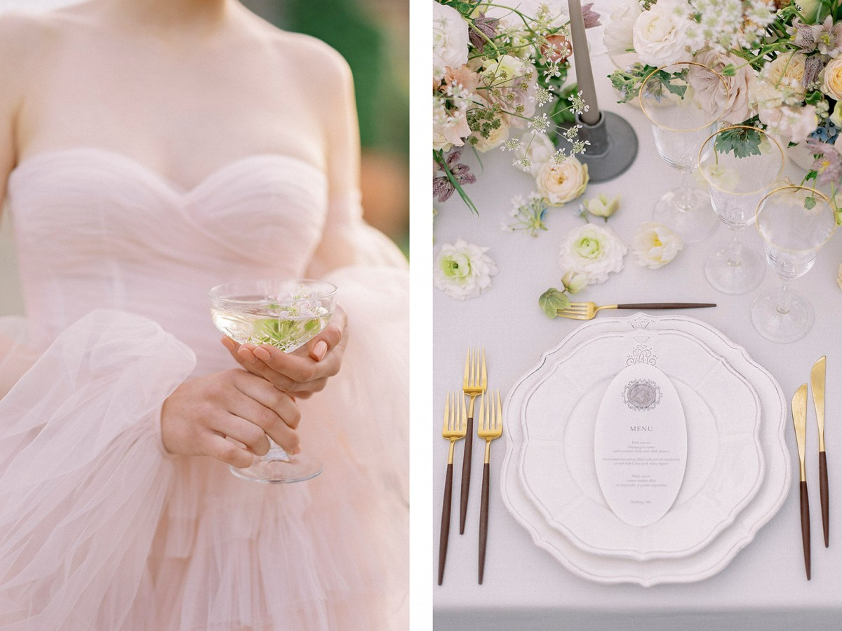 Dreamy pale and interesting editorial in ancient Tuscan villa