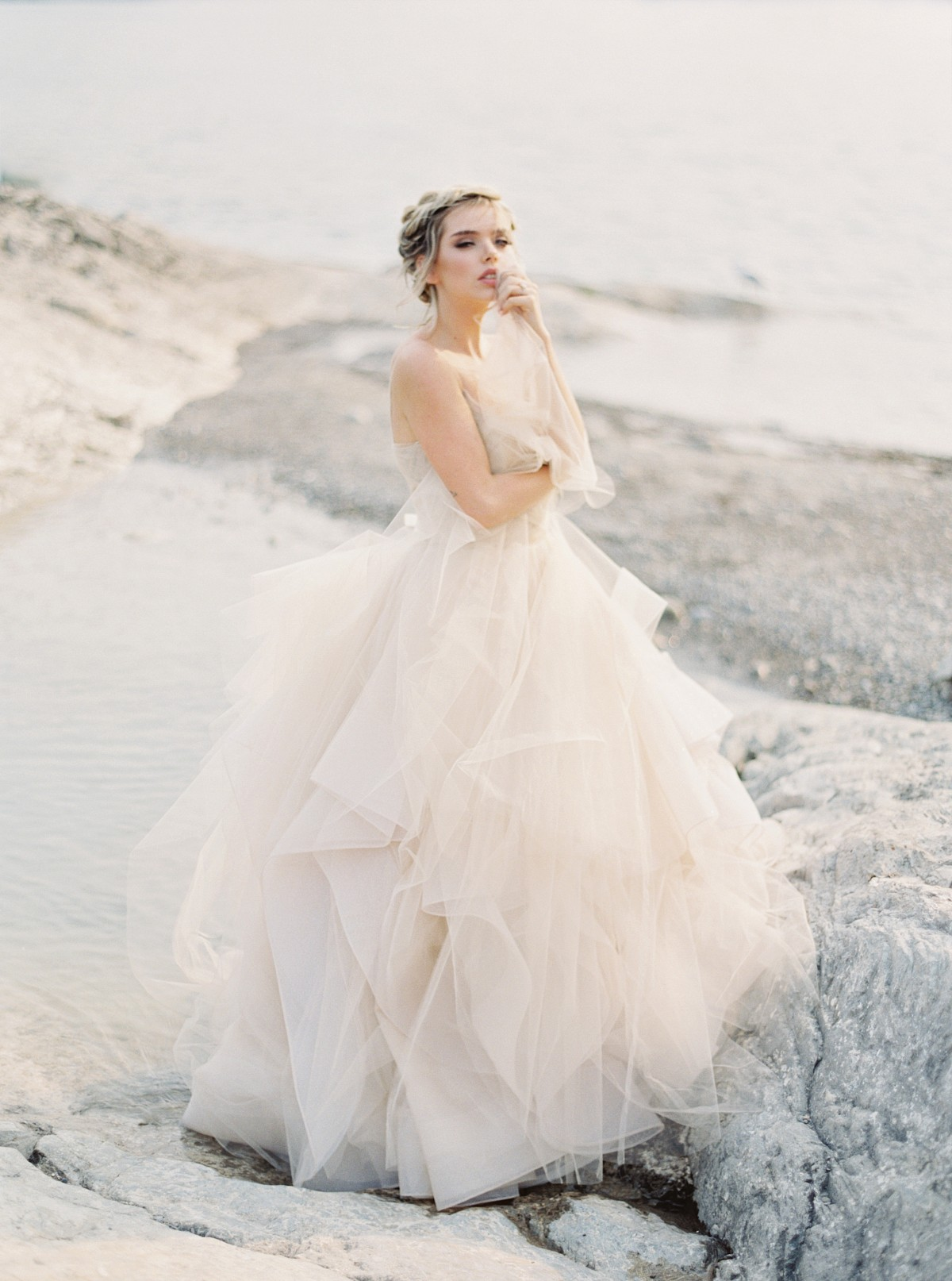 Blush Wedding Dress in the Mountains