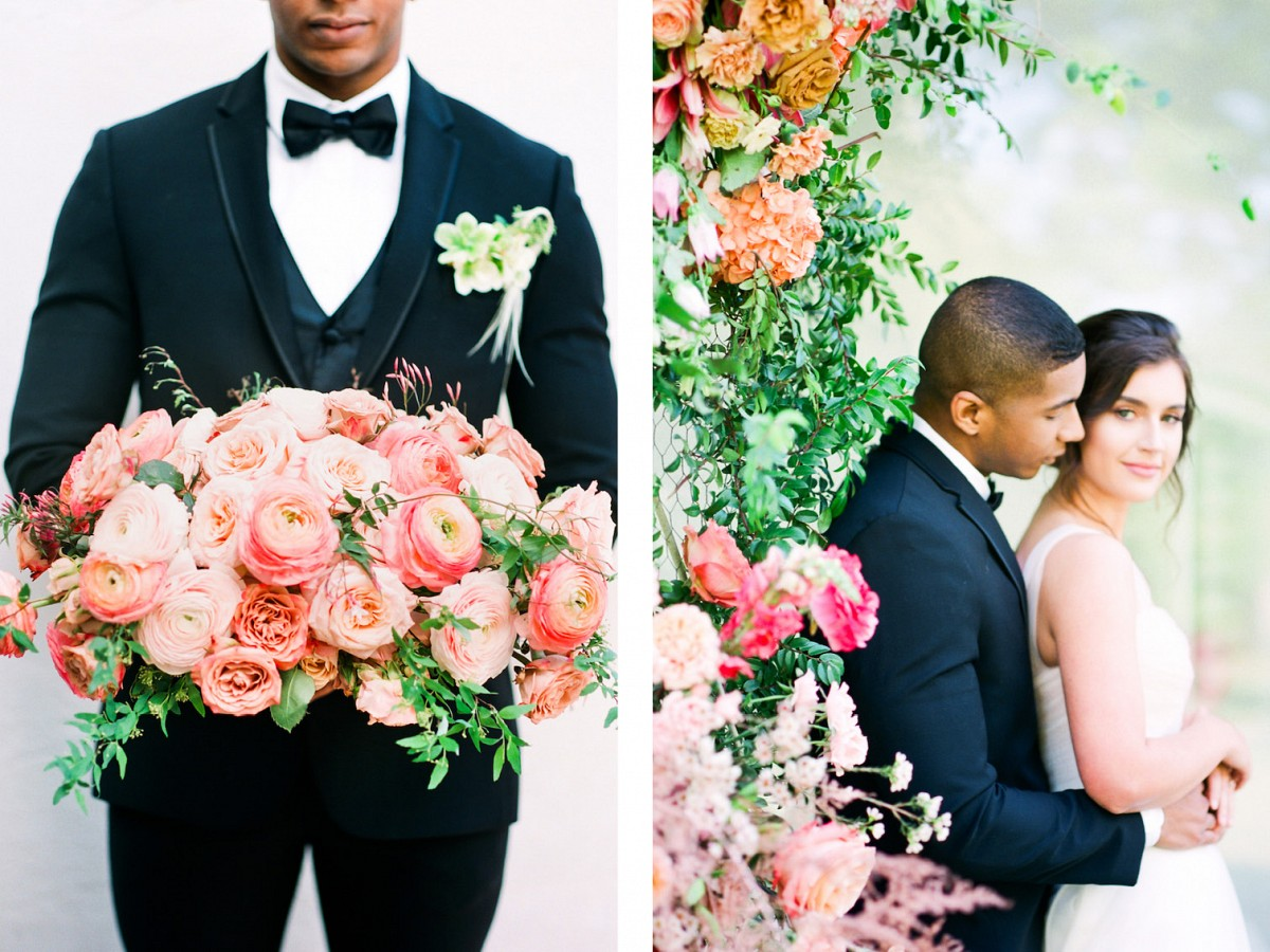 Louisiana Mansion Style Wedding Inspiration in Coral Tones