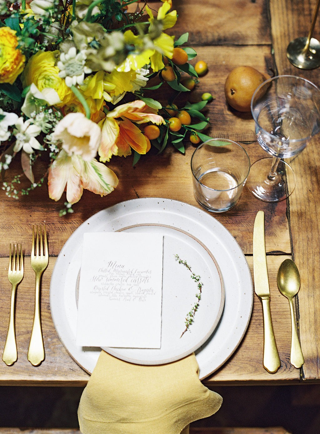 Butterscotch and Taupe Tablescape Inspiration