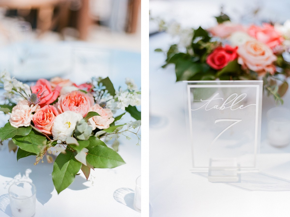 Perfect peach and blue wedding with DIY flowers in North Carolina