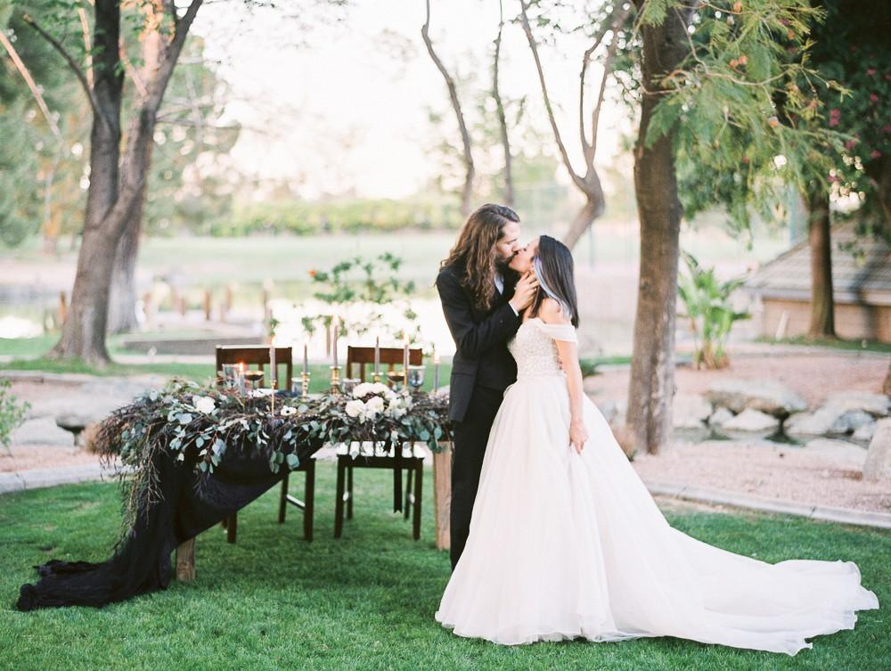 Leah and David's Moody Black and Gold Wedding