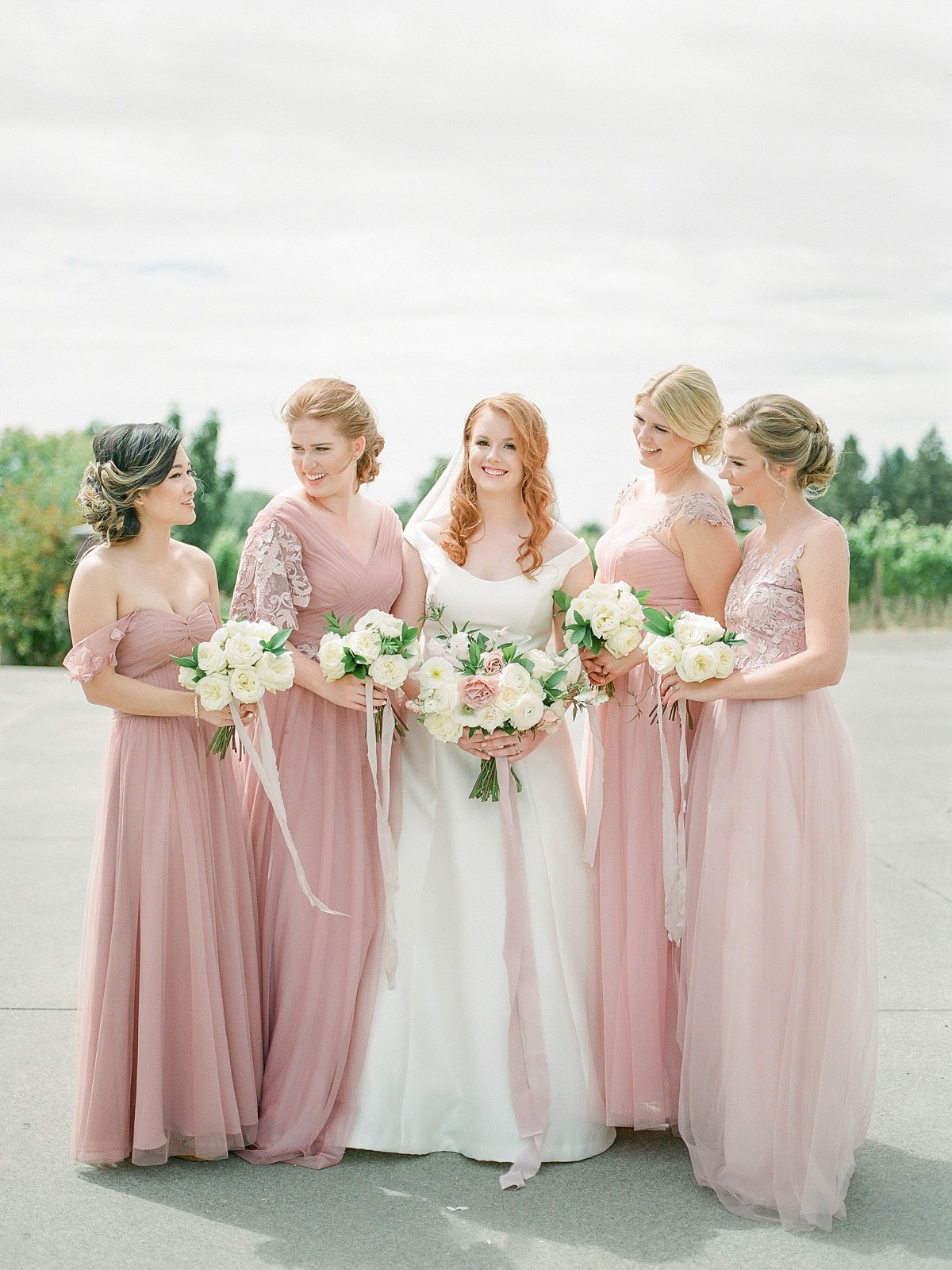 Rainy Day Wine Country Wedding with Rainbow