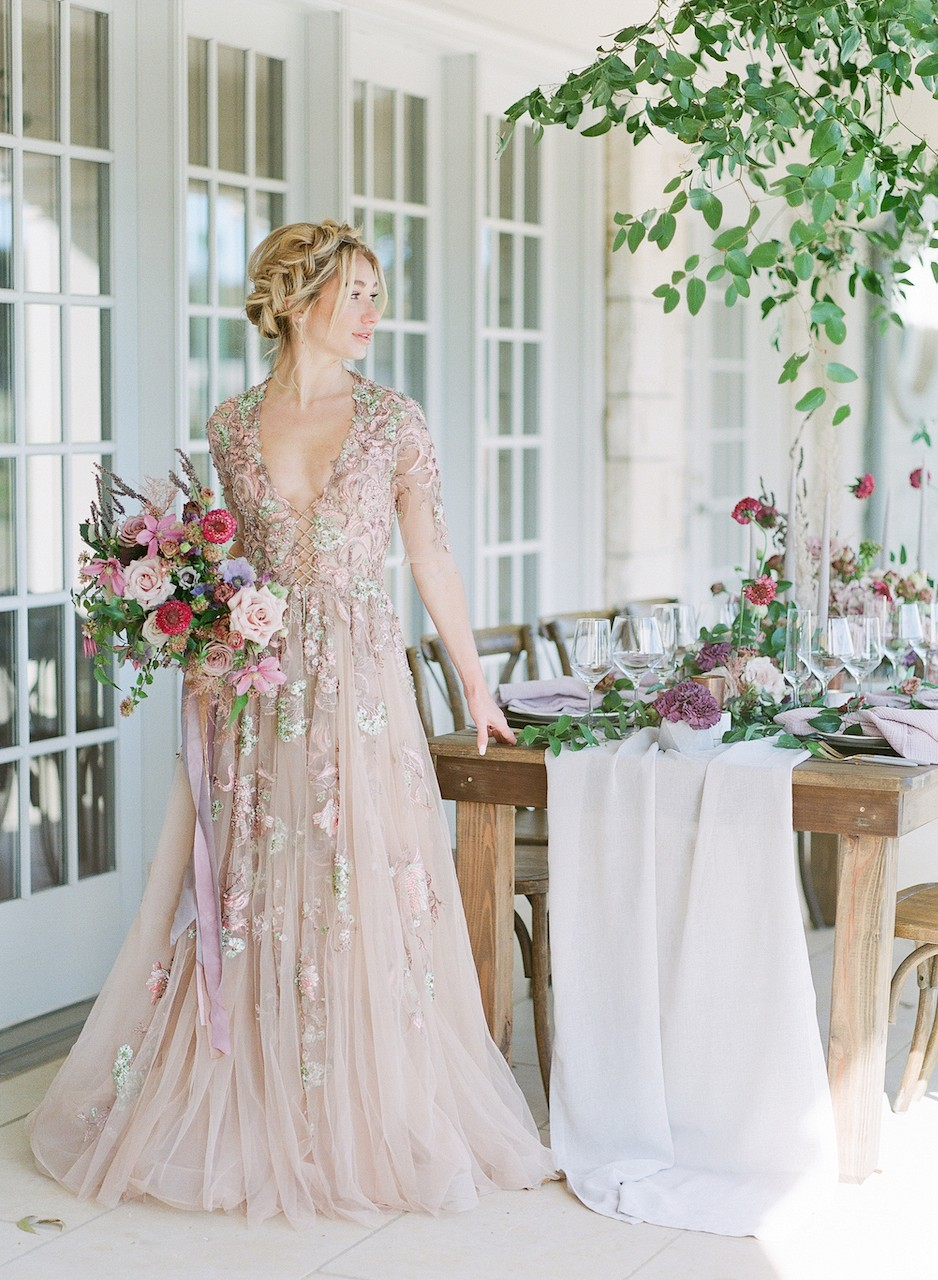 pale muted wedding dress color
