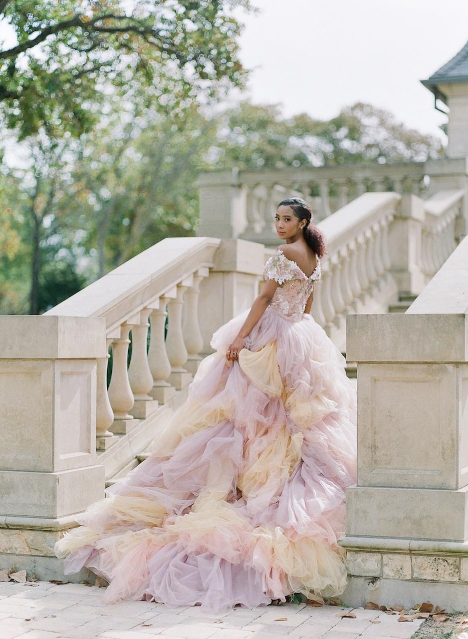 Pale pink and blush wedding dress