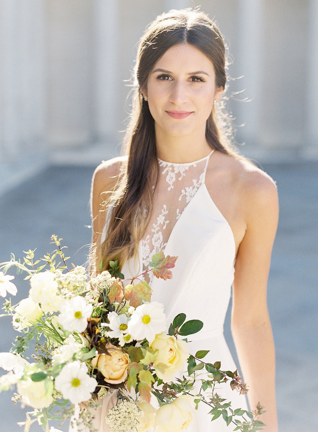 High Neck Wedding Dress Spring Bridal Look