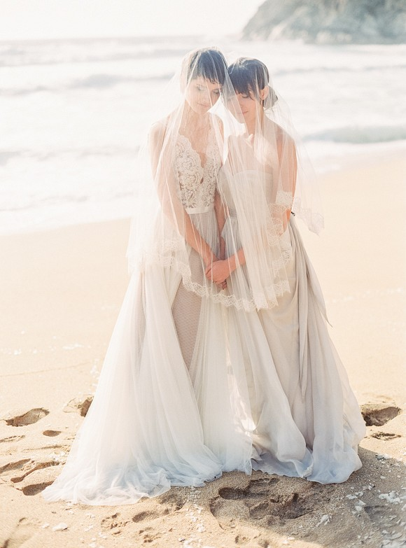 lesbian wedding dresses same wedding inspiration two brides at half moon bay 5502