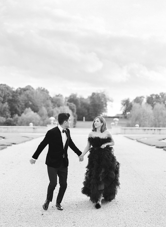 Luxury Black Wedding Dress in a French Chateau