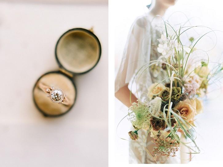 Neutral and warm tone wedding inspiration with Auburn bridal hair