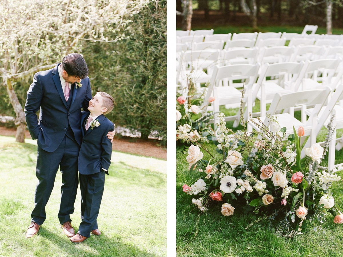 Mauve floral family garden wedding at Old Edwards, NC
