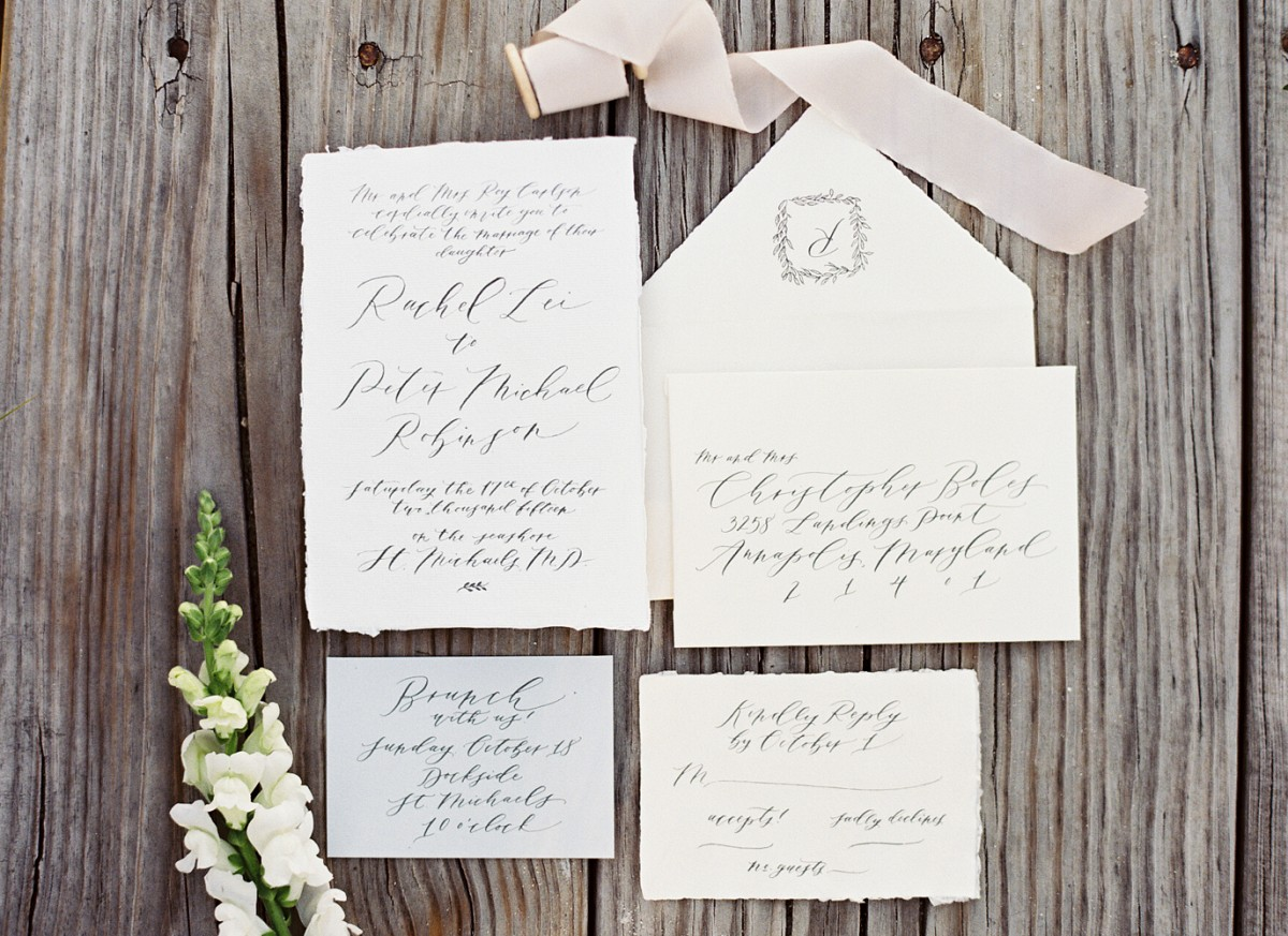 White and Natural Green Bridal Inspiration - wedding calligraphy - Maryland wedding venue | wedding blog | Wedding Sparrow