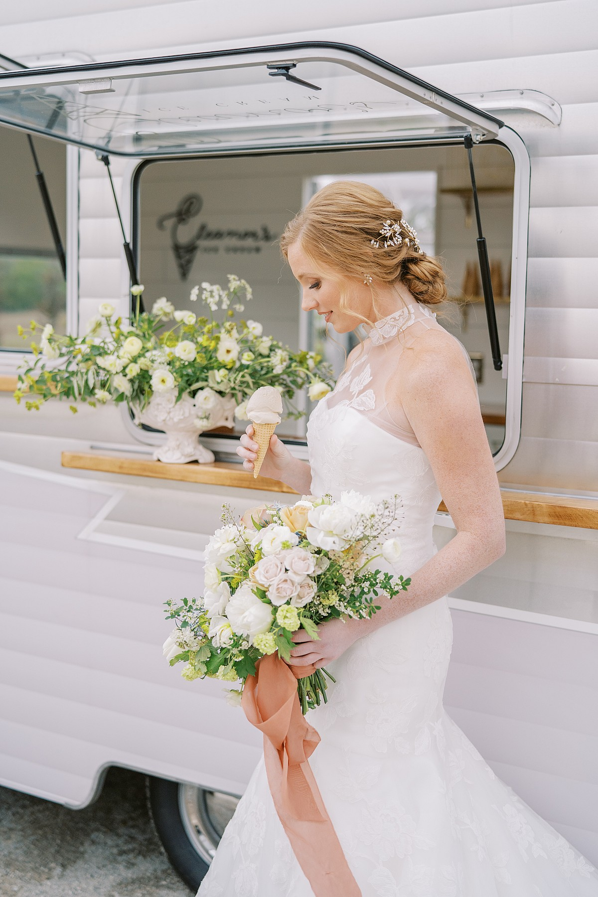 Rustic countryside editorial with cute ice cream van