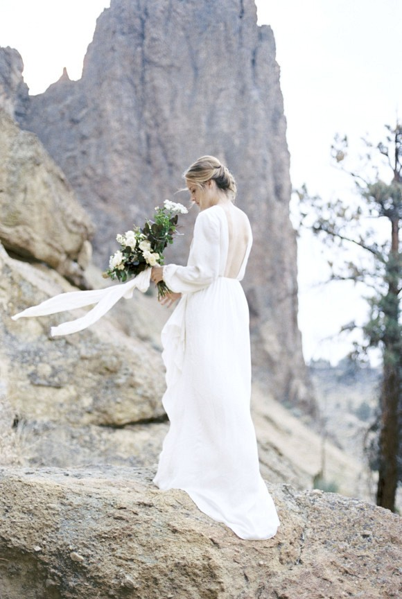 Low back, long sleeve gown | Smith Rock Elopement by Amanda Lenhardt Photography on Wedding Sparrow
