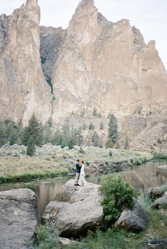 Houghton NYC Gown | Smith Rock Elopement by Amanda Lenhardt Photography on Wedding Sparrow