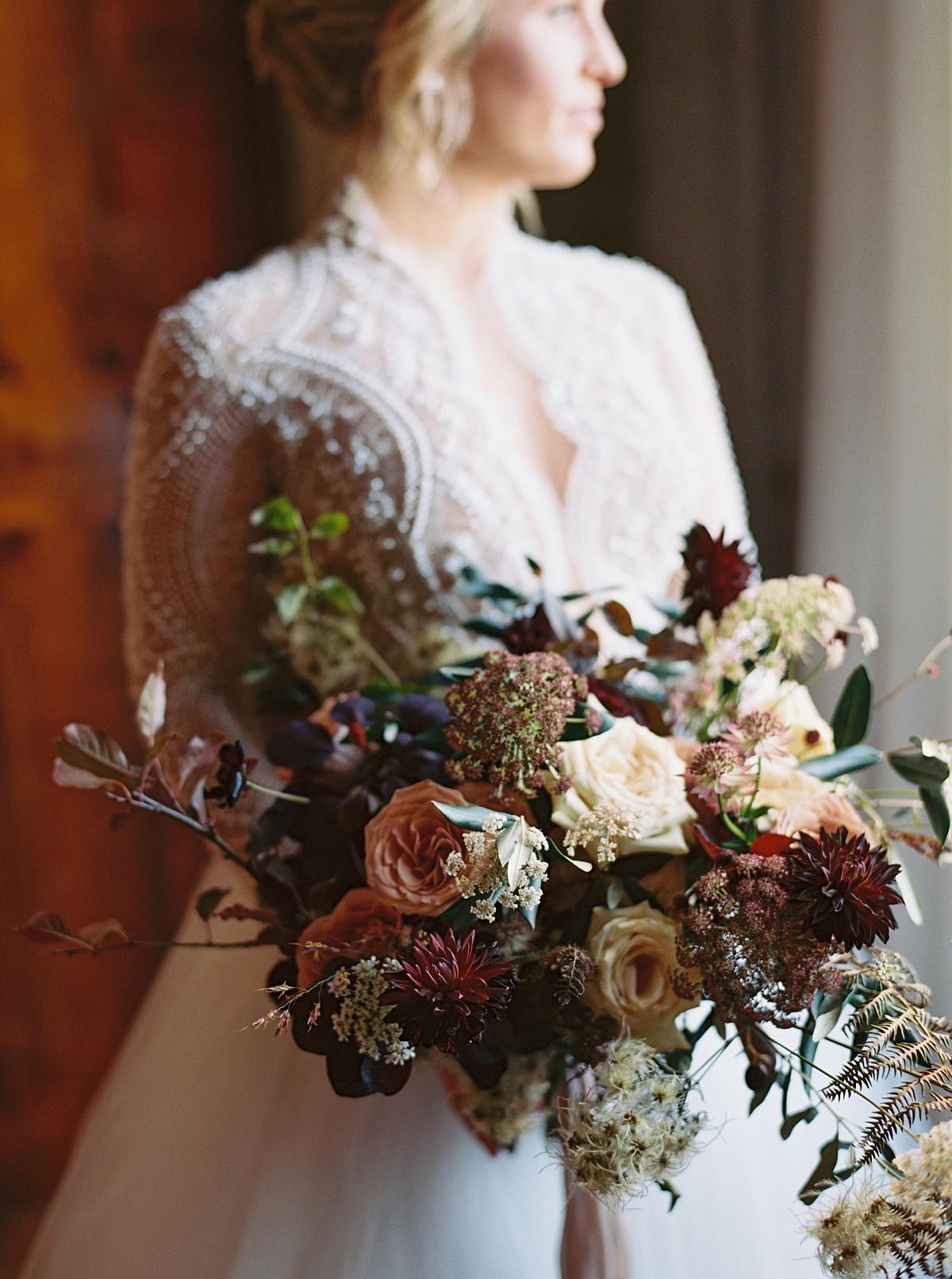 Dark berry wedding bouquet