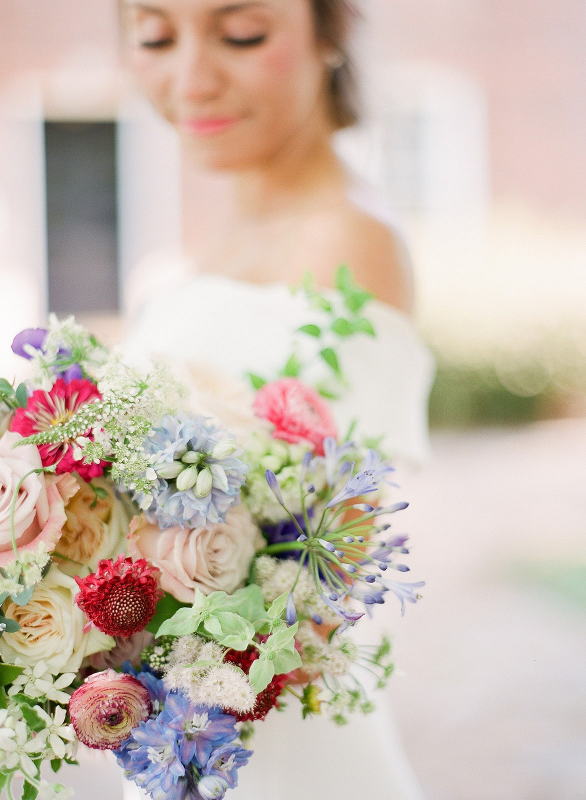 Courthouse Elopement with Bold Florals and Cute Flowergirl!
