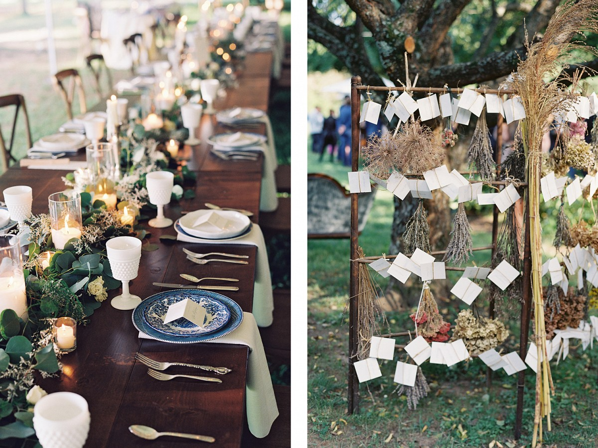 Farmhouse Wedding with Outdoor Ceremony in Blue & White
