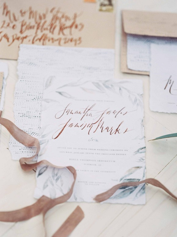 Wedding stationery | Delicate and Demure Woodland Bridal Session by Ace & Whim Photography on Wedding Sparrow
