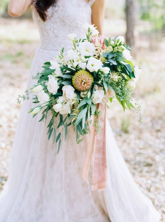 Wedding bouquet | Delicate and Demure Woodland Bridal Session by Ace & Whim Photography on Wedding Sparrow